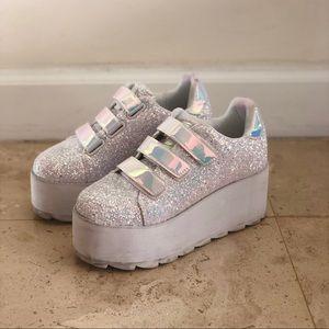 YRU Lala Glitter Platform Sneakers - White - 6